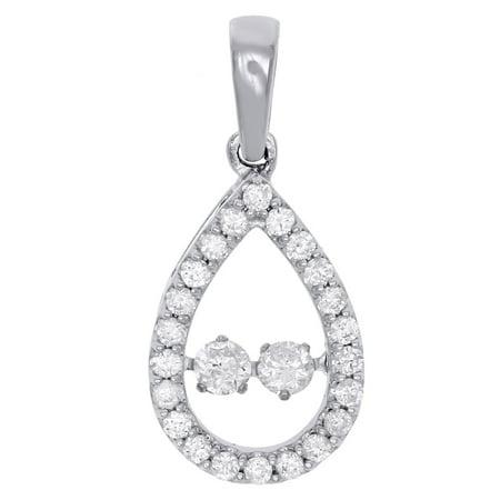 10K White Gold Two Stone Dancing Diamond Teardrop Pendant w/ 18