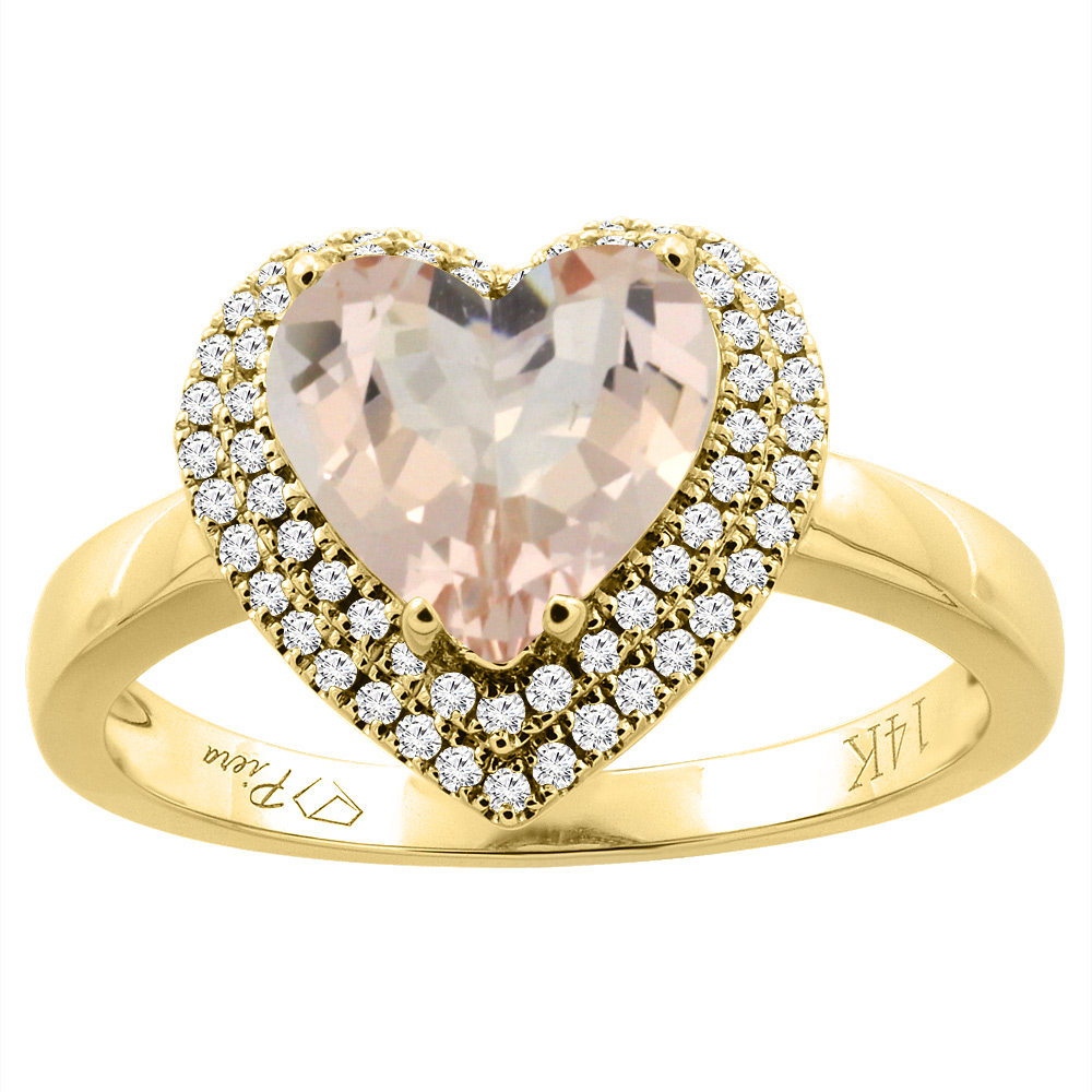 14K Yellow Gold Natural Morganite Ring Heart Shape 8 mm Diamond Accents, size 5.5