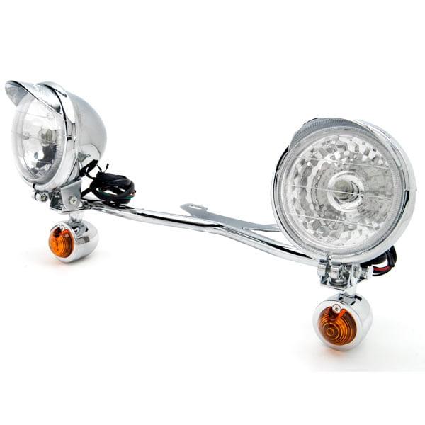 Krator Chrome Motorcycle Passing Light Bar & Turn Signals For Honda VT Shadow Spirit Velorex Deluxe 600 750 1100