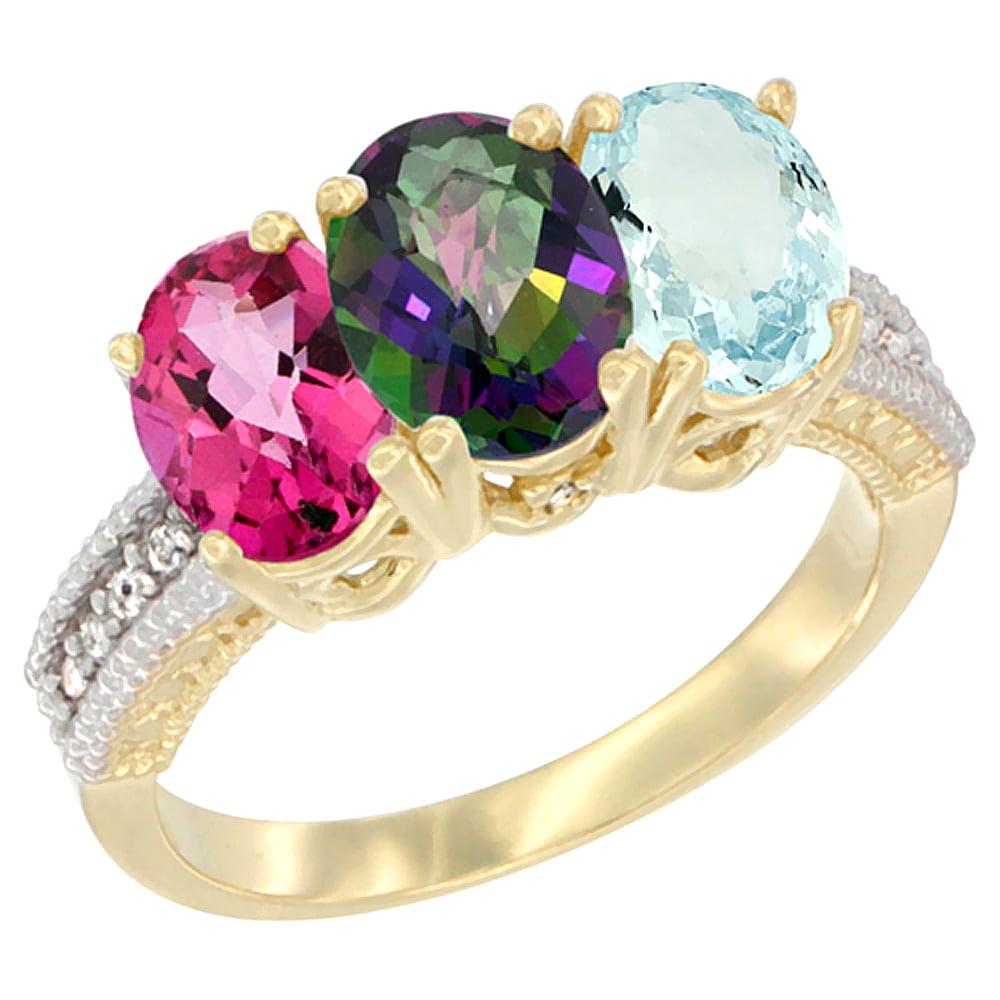 14K Yellow Gold Natural Pink Topaz, Mystic Topaz & Aquamarine Ring 3-Stone 7x5 mm Oval Diamond Accent, sizes 5 10 by WorldJewels
