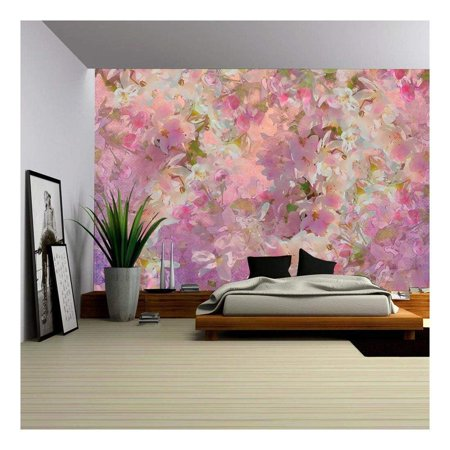 wall26 - Seamless pattern with spring cherry blossom. Painting style floral art - Removable Wall Mural | Self-adhesive Large Wallpaper - 66x96 inches