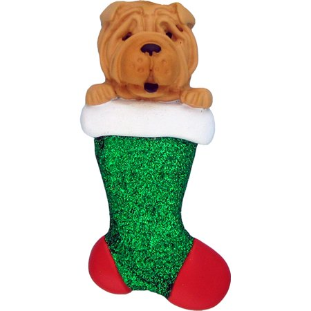 Dog in Stocking Shar Pei Personalized  Christmas Ornament DO-IT-YOURSELF
