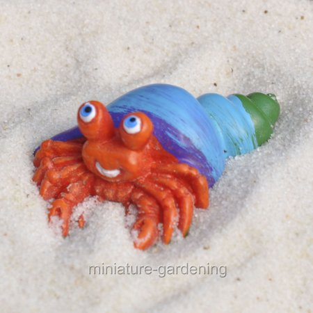 Miniature Blue Shell Hermit Crab for Miniature Garden, Fairy Garden ()