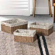 Adeco Trading 3 Piece Rectangular Shaped Basket Set