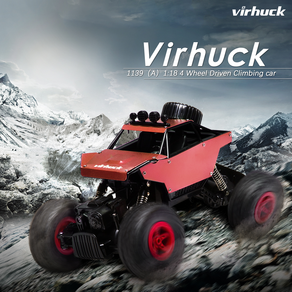 Virhuck RC Cars 1/18 Scale 4WD Rock Crawler with Metal Shell DIY Graffiti, 2.4GHz Off-road Vehicle Monster Truck Electric Rock Crawler Desert Buggy for Kids