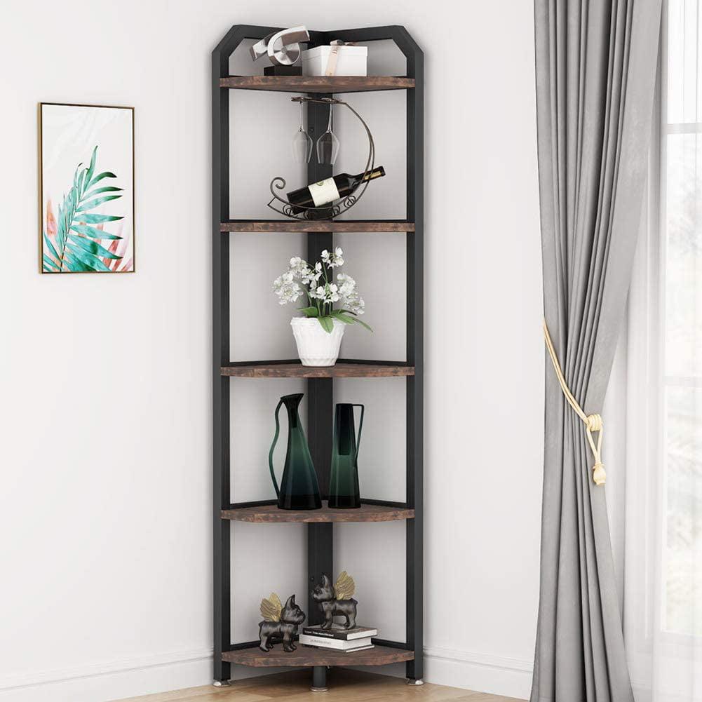 Tribesigns 5 Tier Corner Shelves, Rustic Corner Bookshelf ...