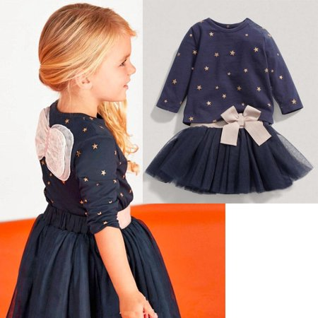 Baby Star Girl (Baby Girls Party Star Bowknot Tops T-shirt+Skirts 2pcs Outfits Set Dress 2-7Y)