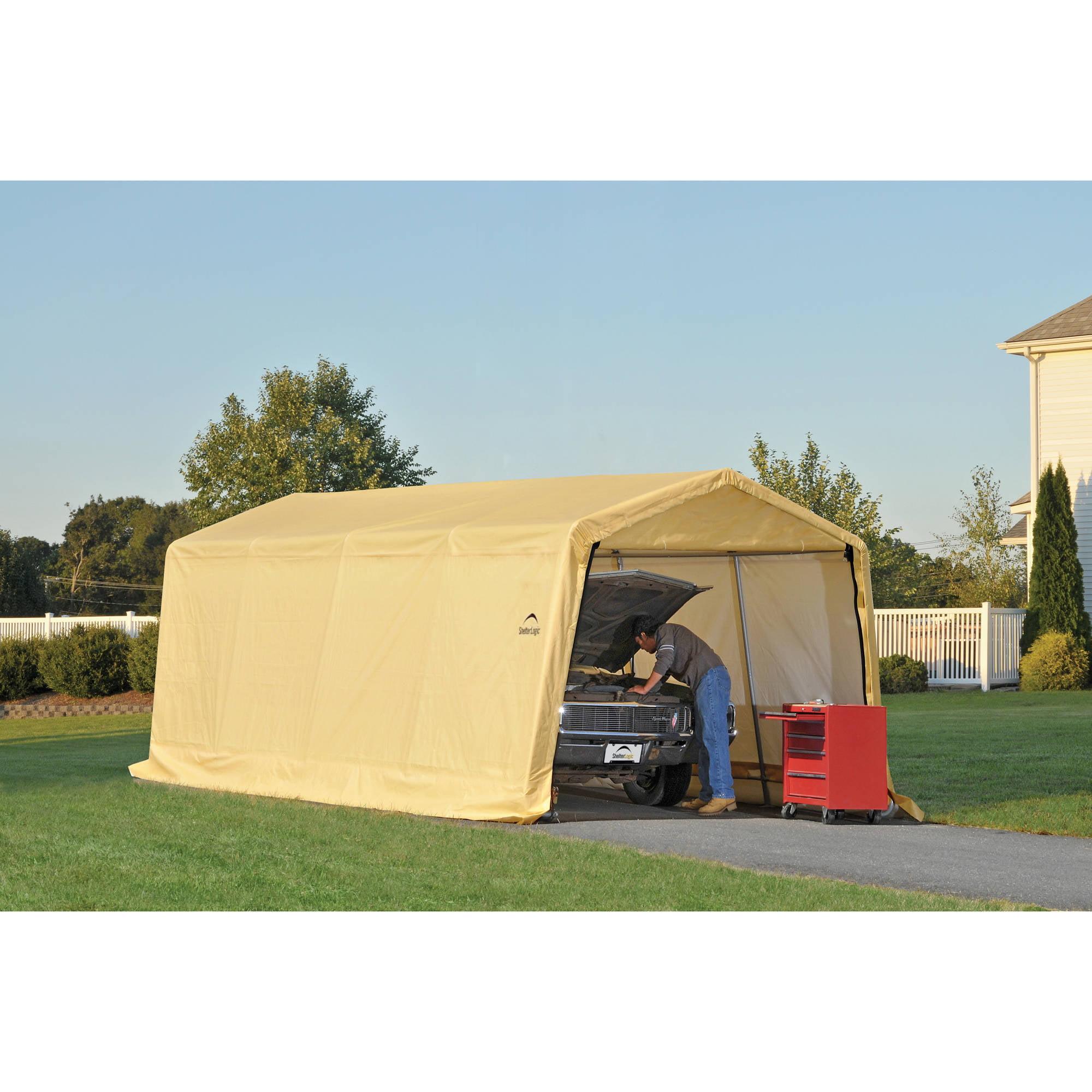 Auto Shelter 10' x 20 x8' Peak Style Instant Garage, Sandstone by Instant Garages