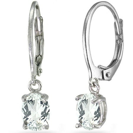 White Topaz Sterling Silver 7mm x 5mm Oval Dangle Leverback - Diamond Oval Dangle