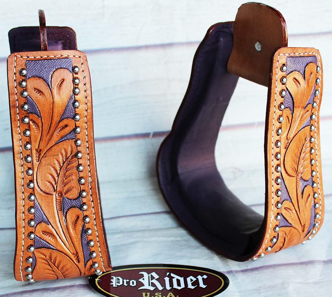 PRORIDER Western Horse Saddle Stirrups Stirrup Purple Carved Tan Leather Replacement 5106