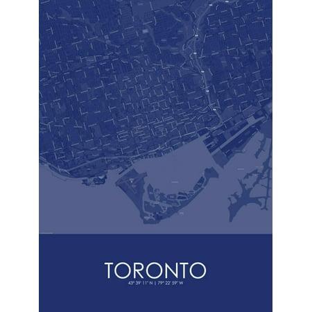 Toronto, Canada Blue Map Poster Wall Art