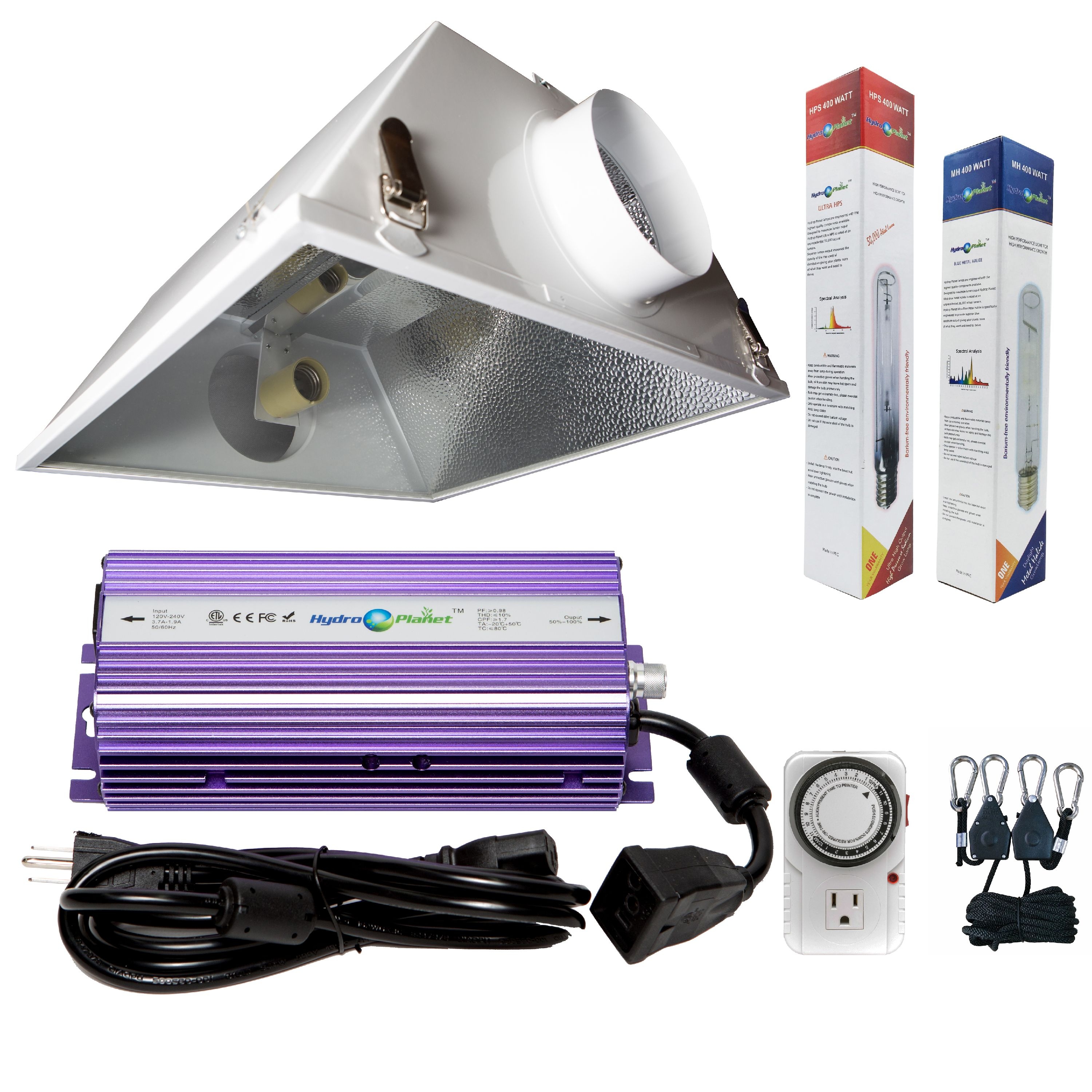 Hydroplanet™ 400w Digital Ballast Dimable HPS Mh Grow Light System for Plant with  6inch Air Cooled Reflector