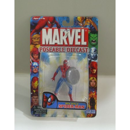 Marvel Poseable Diecast Web Shield Spider-Man Figure by, SPIDERMAN DIECAST POSEABLE ACTION FIGURE with Shield By Toy Biz