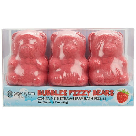 Ginger Lily Farms Bubbles Fizzy Bears Bath Bombs, Strawberry, 6 Ct, 1.7 Oz ea Cupcake Bath Bombs