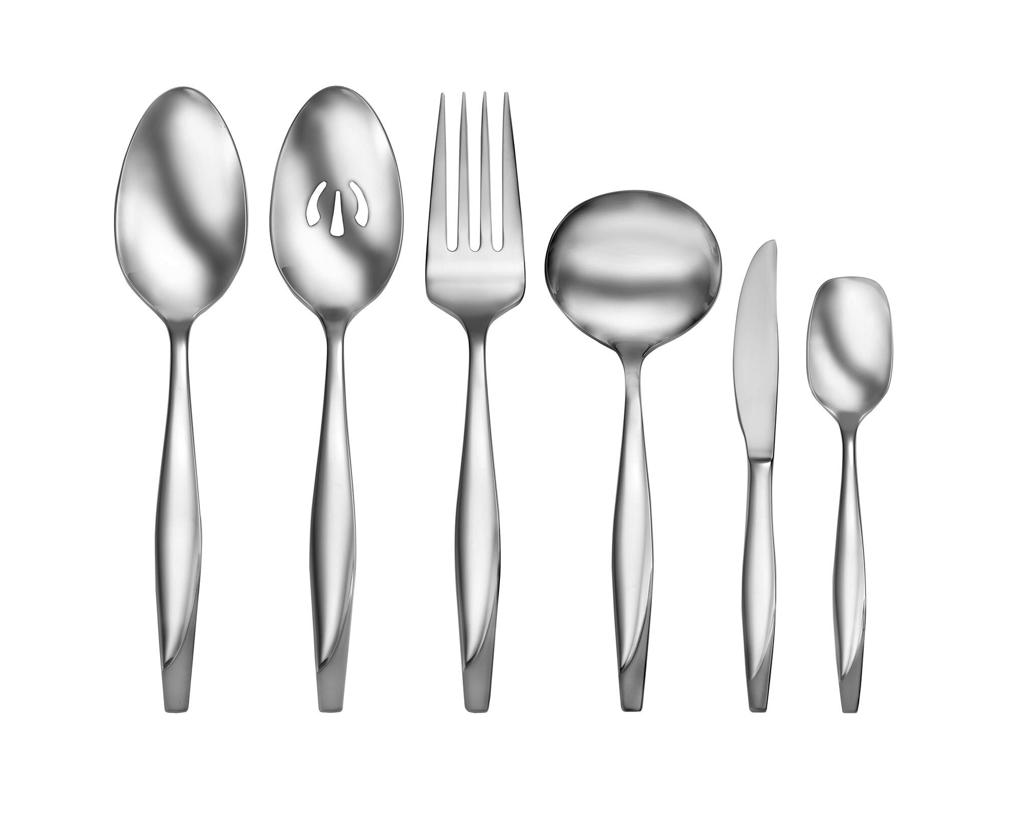 Heart Black and White 6 inch Ceramic Stoneware Flatware Serving Spoons Set of 6