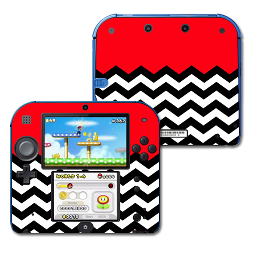 Mightyskins Protective Vinyl Skin Decal Cover for Nintendo 2DS wrap sticker skins Red Chevron
