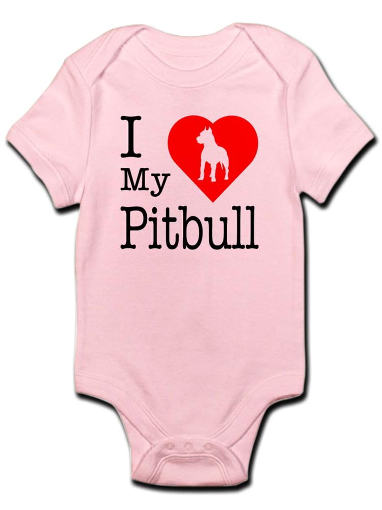 I Love My Pitbull Newborn Infant Toddler Baby Girls Boys Bodysuit Short Sleeve 0-24 MonthsGray