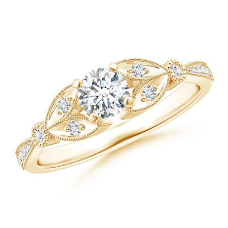 April Birthstone Ring - Solitaire Diamond Leaf Engagement Ring with Milgrain in 14K Yellow Gold (4.6mm Diamond) - SR1517D-YG-GHVS-4.6-11