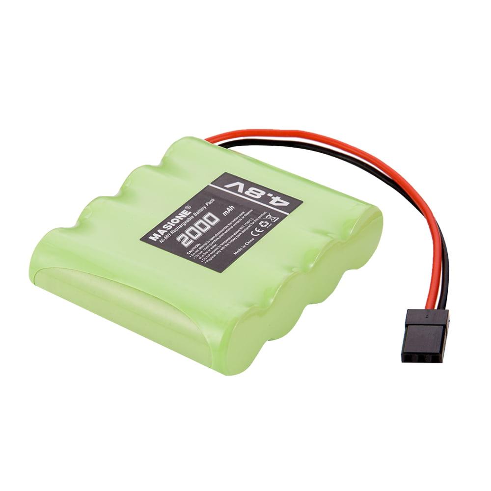 Masione 4.8V 2000mAh NiMH Square RX Receiver Battery w/Hi-tec Plug RC