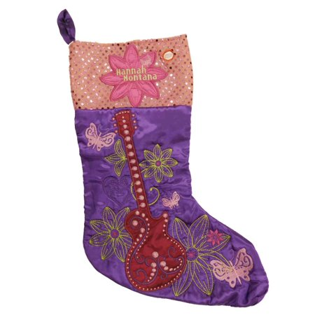 Purple Satin Musical Hannah Montana Christmas Stocking Miley Cyrus Guitar - Musical Christmas Stocking