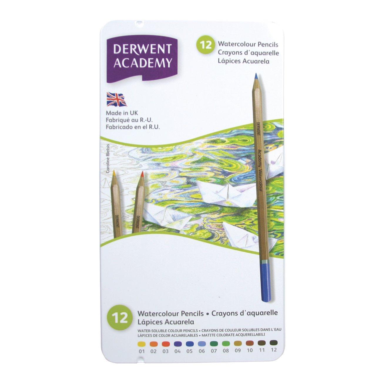 Derwent Academy Watercolor Pencils, 3.3mm Core, Metal Tin, 12 Count (2301941)
