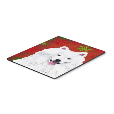 American Eskimo Red and Green Snowflakes Christmas Mouse Pad, Hot Pad or Trivet