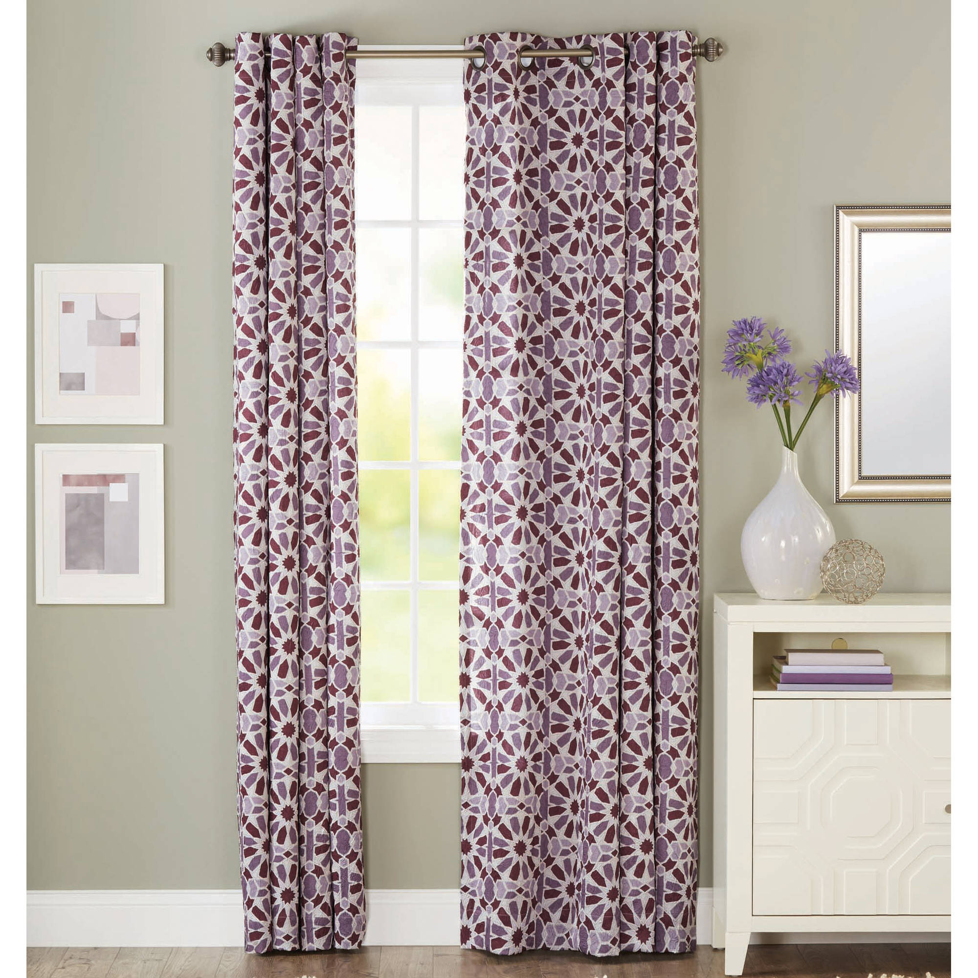 mainstays layered trellis room darkening curtain panel