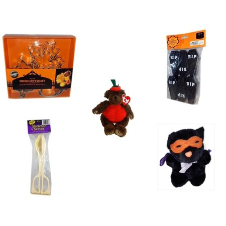 Halloween Fun Gift Bundle [5 Piece] - Wilton Autumn 8-Piece Cookie Cutter Set - Tombstone Containers Party Favors 6 Count - Ty Attic Treasures