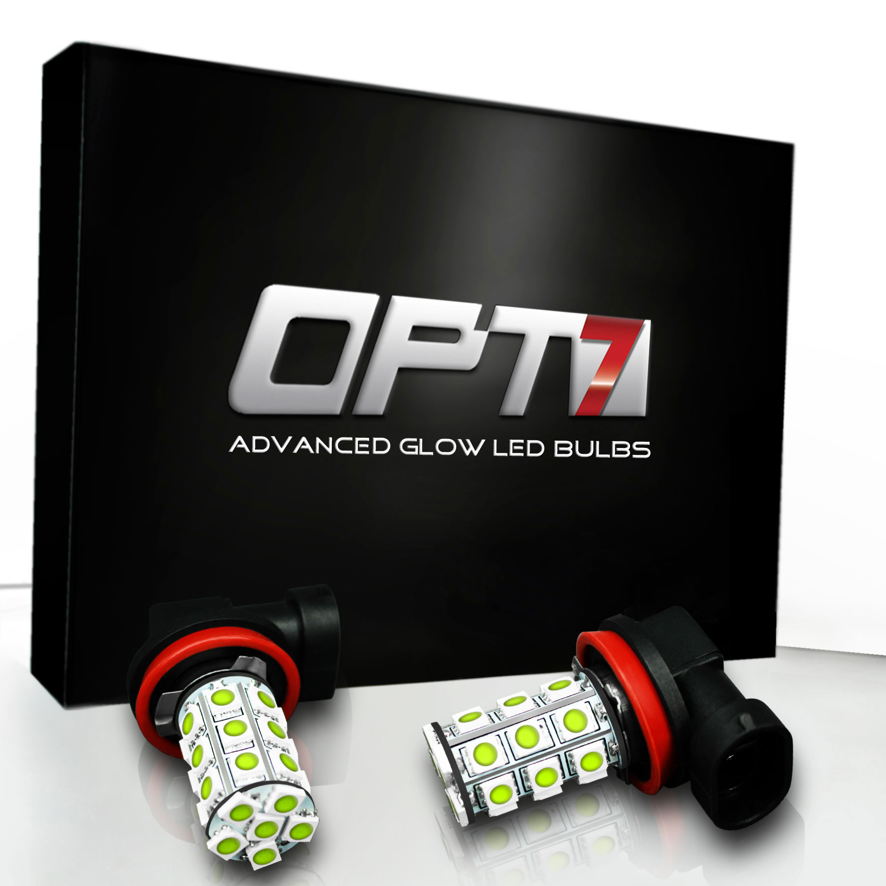 OPT7 Show Glow H11 LED Fog Light Bulbs - 27-SMD 6000K Cool White @ 350Lm per bulb - Plug-n-Play (Pack of 2)