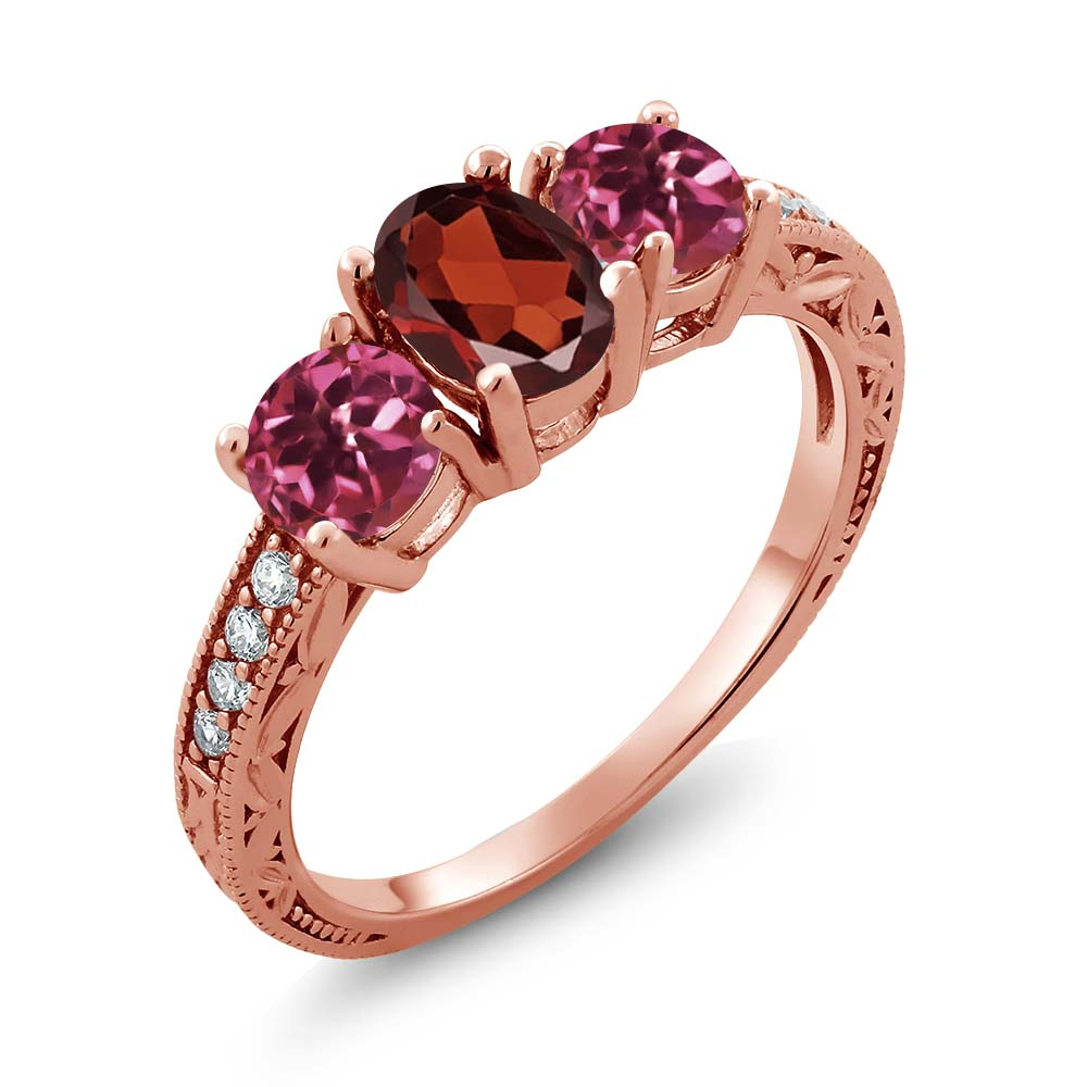 2.02 Ct Oval Red Garnet Pink Tourmaline 18K Rose Gold Ring by