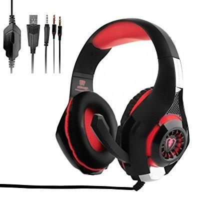 OBEST Gaming Headset,GM-1 3.5mm LED Light Wired Gaming Headphone for PS4,PSP,New Xbox One,Laptop,Tablet,iPhone,Samsung Smartphone with Volume Control Microphone