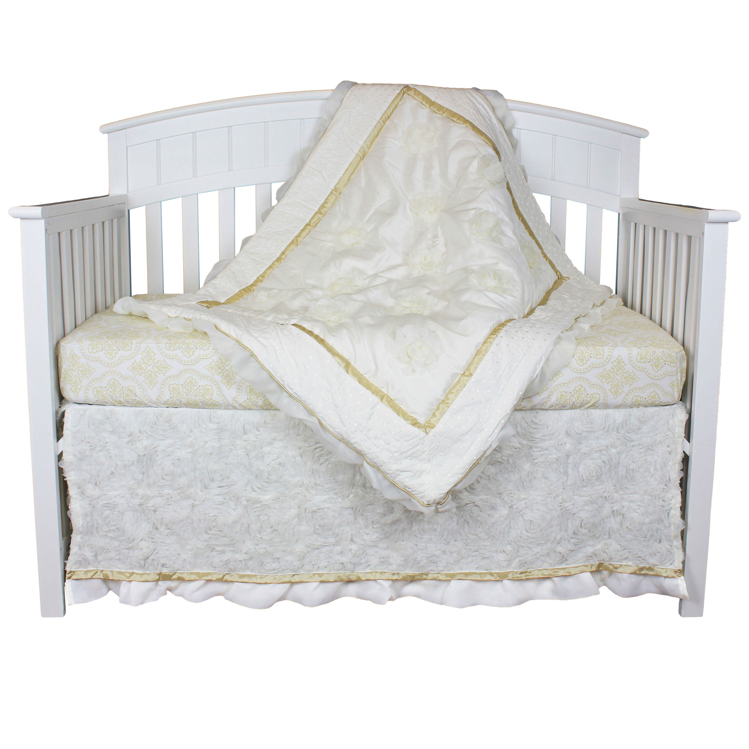 The Peanut Shell Crib Bedding Set - White, Ivory and Gold - Juliet Baby Girl Crib Bedding 4 Piece Collection