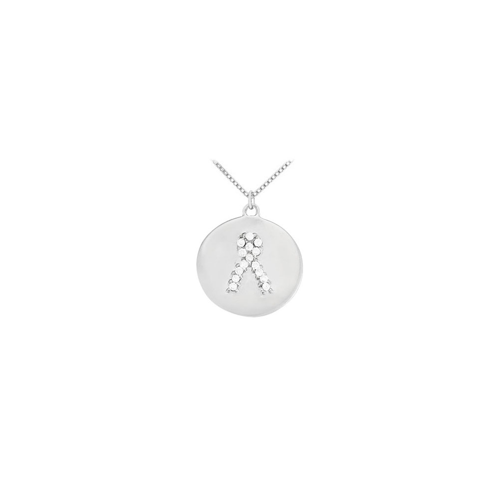 Cubic Zirconia Cancer Awareness Ribbon Disc Pendant in Sterling Silver 0.10 CT TGW - image 2 of 2