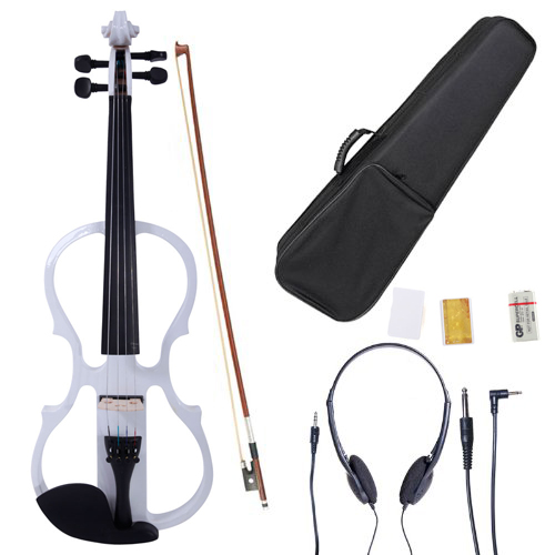 Ktaxon White 4/4 V-002 Solid Wood Electric/Silent Violin with Ebony Fittings - Full Size - Black Metallic