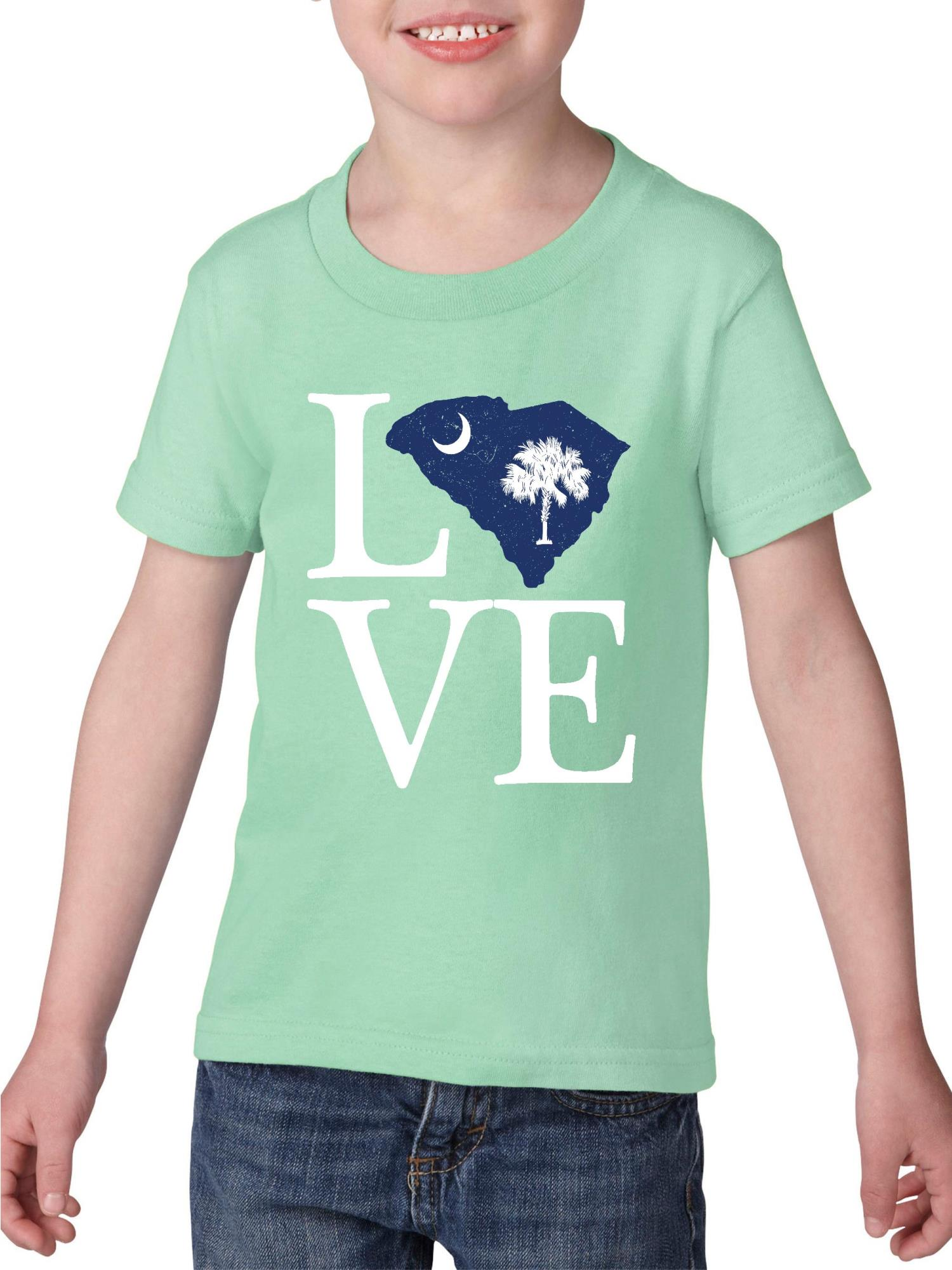 Love South Carolina Heavy Cotton Toddler Kids T-Shirt Tee Clothing