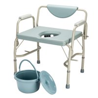 Zimtown Approved 550 lbs Heavy Duty Drop Arm Medical Beside Commode Chair, Homecare Toilet Seat with Safety Steel Frame, Adjustable Height Support Tool-free assembly