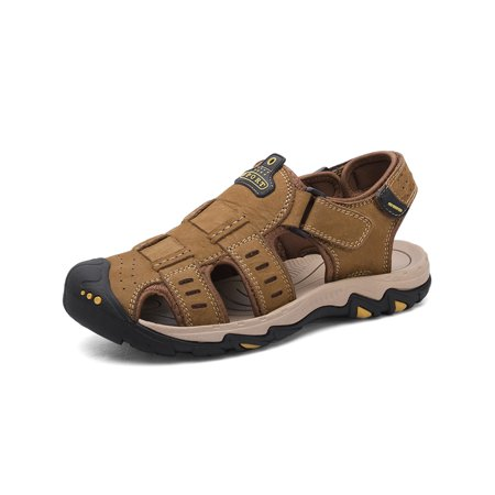 Men's Leather Sandals Outdoor Hiking Sandals Waterproof Athletic Sports Slippers Fisherman Beach Flip Flop Closed Toe Water (Best Waterproof Hiking Sandals)