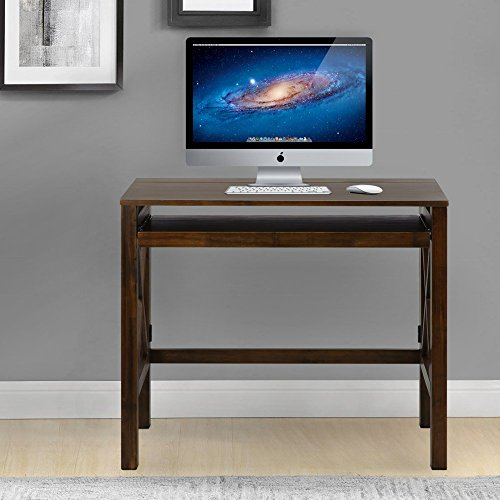 Montego Folding Desk with Pull-Out-Warm Brown