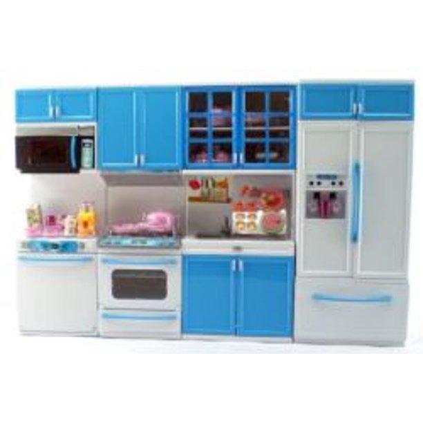Girl Fun Toys Blue Deluxe Modern Barbie Size Kitchen Stove Fridge Micro Wave Etc Walmart Com Walmart Com