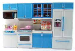 Blue Deluxe Modern Barbie Size Kitchen Stove Fridge Micro Wave Etc