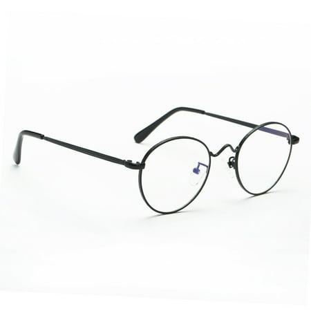 Cyxus Clear Transparent Lens Plain Glasses Thin Round Retro Black Frames Men Women (Lens Transparent Black Frame)