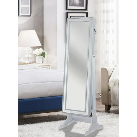 Chic Home Finesse Modern Contemporary Crystal-Bordered Rectangular Jewelry Armoire Cheval Mirror, Full-length Pristine White