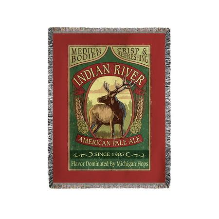 Indian Pale Ale - Indian River, Michigan - Elk Pale Ale Vintage Sign - Lantern Press Artwork (60x80 Woven Chenille Yarn Blanket)