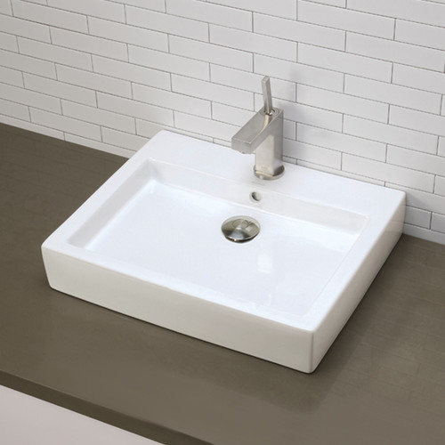 DecoLav Classically Redefined Tallia Ceramic Rectangular Vessel Bathroom Sink with Overflow