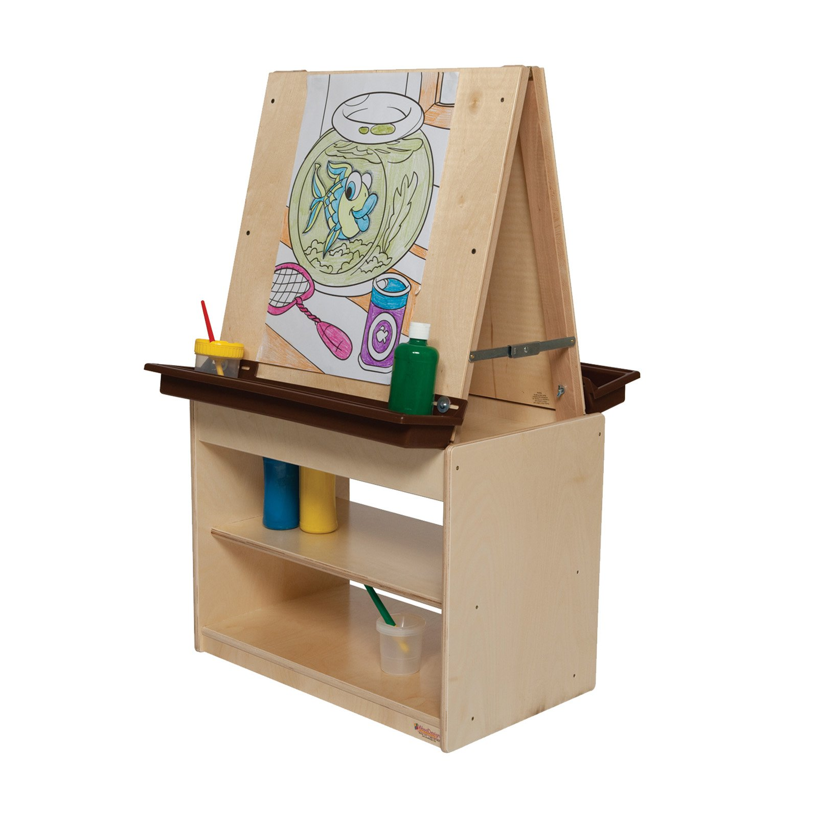 Wood Designs Art Center for Two with Brown Trays