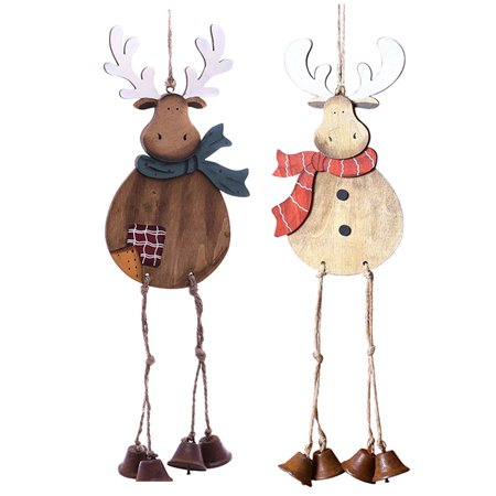 2 pcs hanging christmas ornaments outgeek wooden reindeer with bell legs christmas tree ornament party - Wooden Deer Christmas Decorations