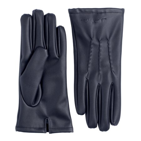 Sportoli Mens Pu Leather Warm Winter One Piece Leather Gloves With Imitation Fur Inside Lining