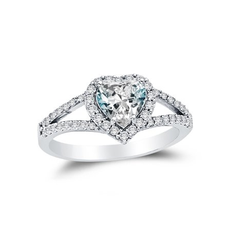 Solid 14K White Gold Heart Cut Halo Wedding Engagement Ring With Side Stones  Highest Quality Cz Cubic Zirconia  1 75 Ct     Size 8 5