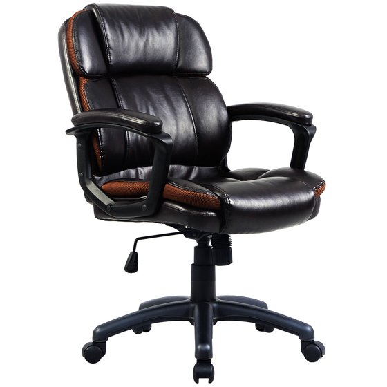 costway ergonomic pu leather mid back executive computer desk task office chair. Black Bedroom Furniture Sets. Home Design Ideas