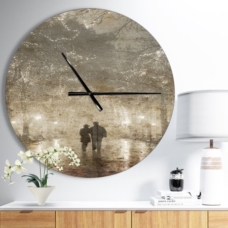 DesignArt Couple Walking in Night Lights Large Wall Clock - image 1 of 2